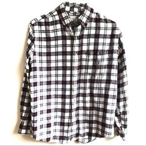 Chaps White Black Red Plaid Flannel Shirt Size S